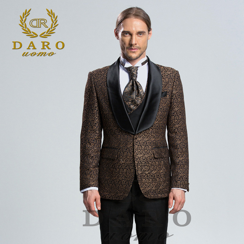 DAROuomo 2018 Men Suit 3 Pieces tuxedo Slim Fit Dress Pant
