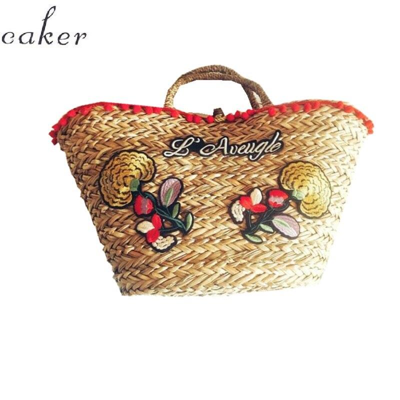 Caker бренд 2018 Для Женщин соломенные сумки большой большая сумка из бисера цветок мультфильм кисточкой Сумки фиолетовый контраст Цвет Полуме...
