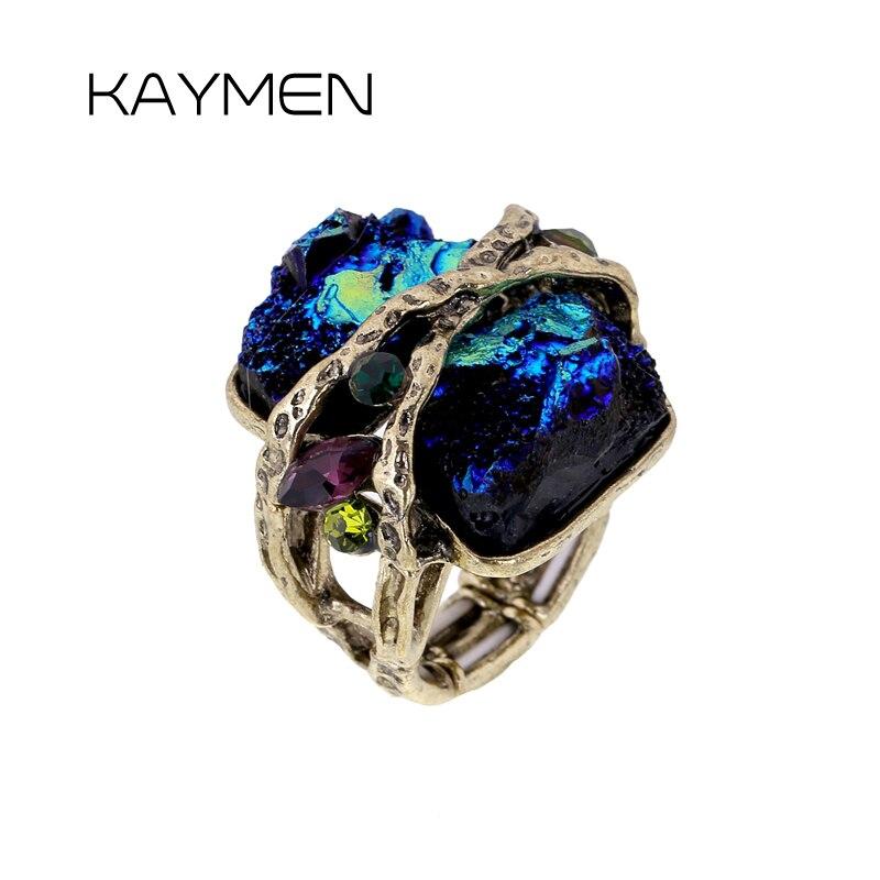 KAYMEN Luxurious Statement Wedding Ring, Antique Bronze Elastic Vintage Women Promise Fashion Ring RI-02008