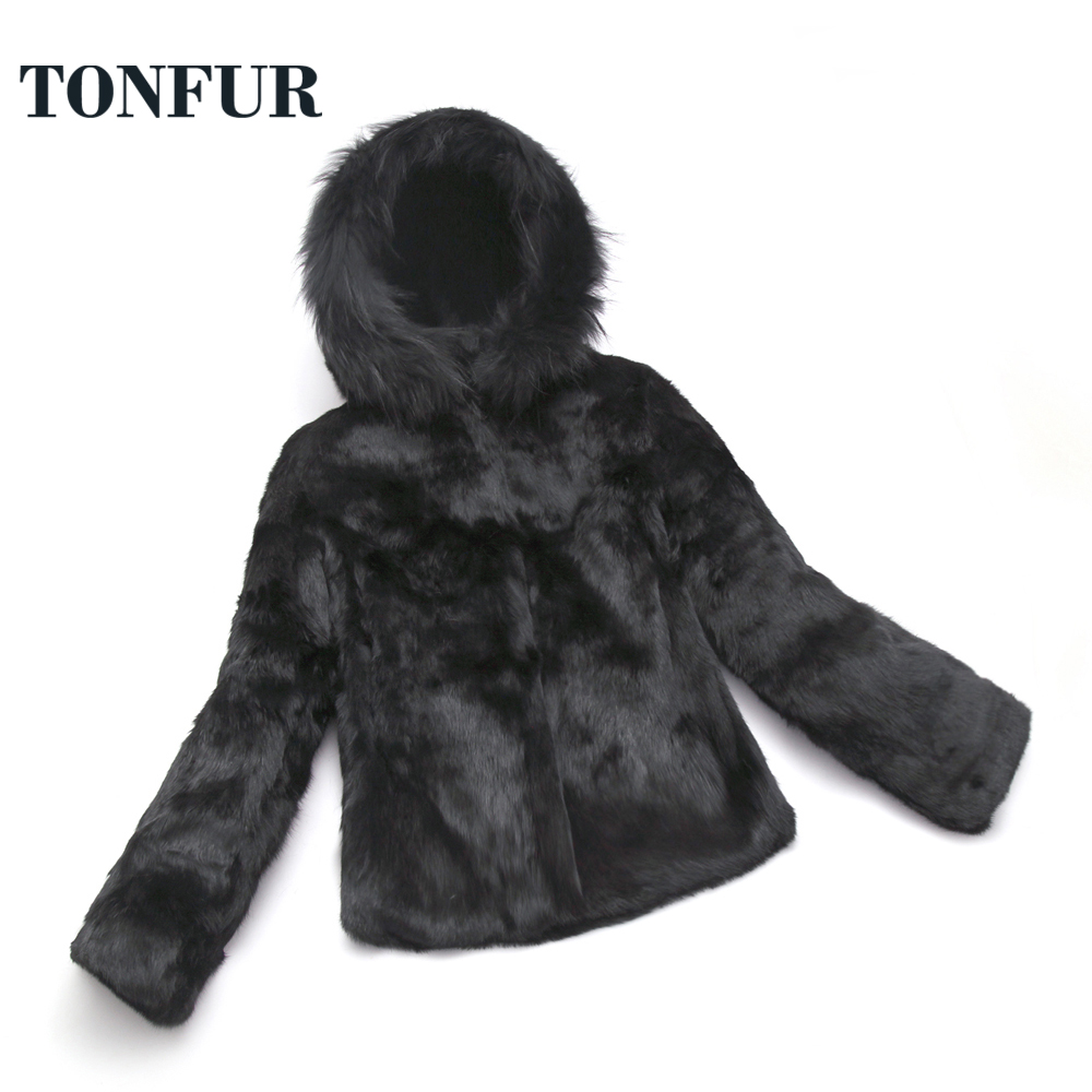 Winter Coat Women Real Rabbit Fur Coat with Hooded and Big Size Luxury Fox Fur Collar Customize Wholesale Hot Selling Fur sr657