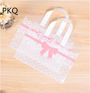 Plastic-Bag Pink Handles Supermarket Bowknot 50pcs with Big Jewelry Cookies-Bag 33x25cm