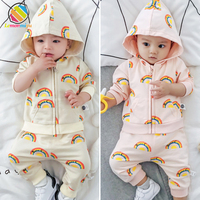 Lemonmiyu Newborn Baby Girl Boy Clothes Cartoon Rainbow Hooded Baby Clothing Spring Autumn Warm Full Sleeve Baby Girl Outfits