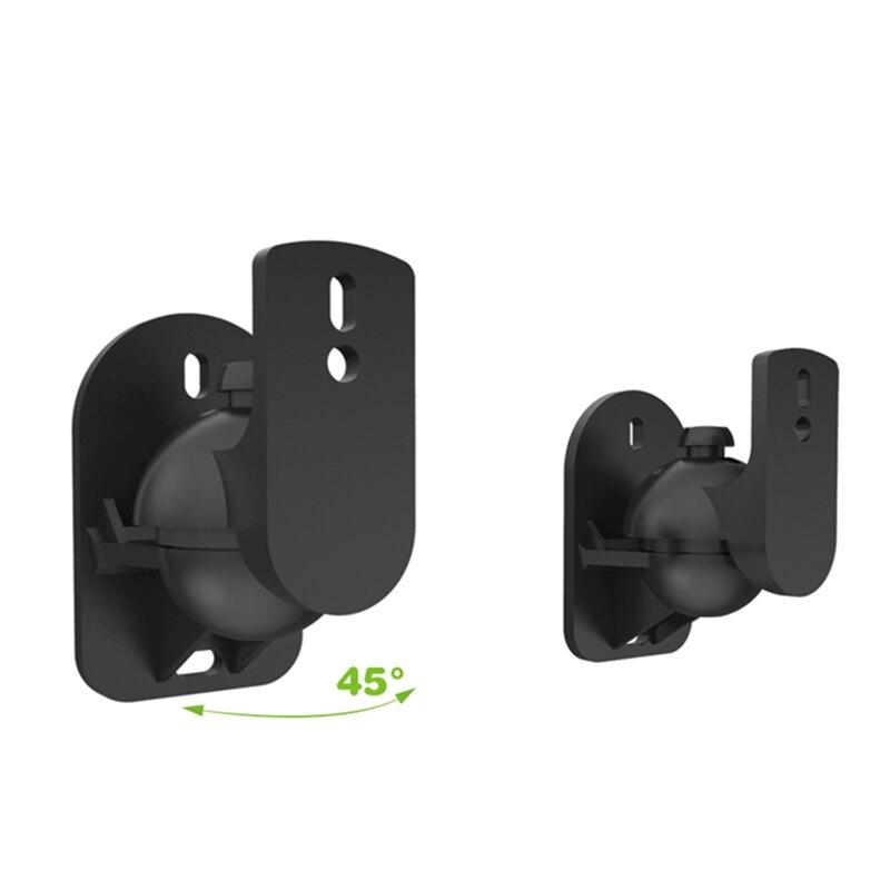 2 stücke Schwarz Surround Sound Lautsprecher Wandhalterungen 45 Grad drehbare Design TV Wandhalterung 8x4,5x5,8 cm Mayitr