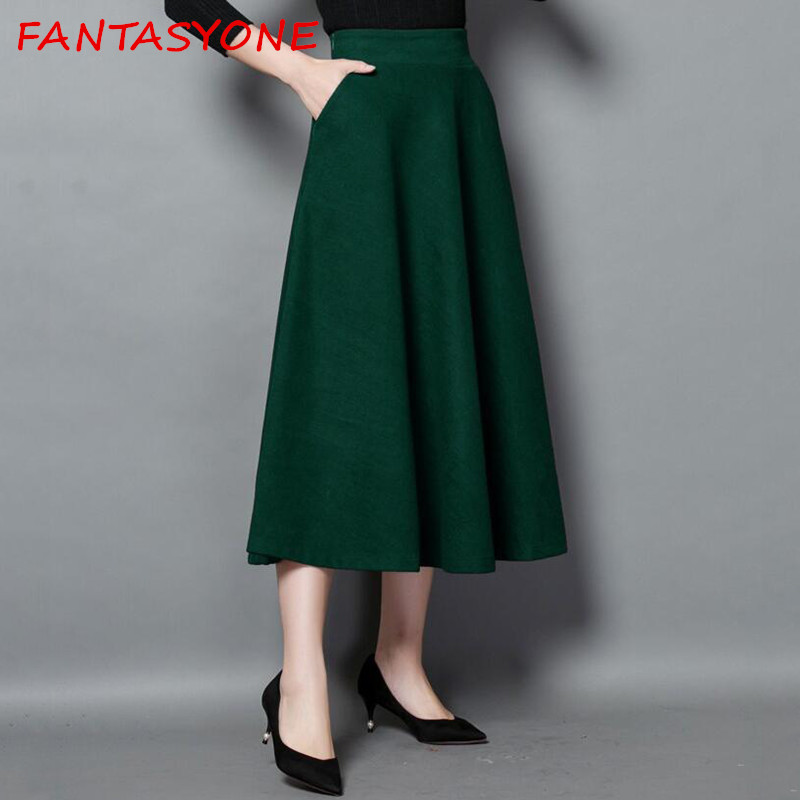 FANTASYONE Woolen Skirt Women Long A-Line Skirt British Style Woolen Black Skirts Kilt Winter Vintage Wool Umbrella Tutu Skirt ...