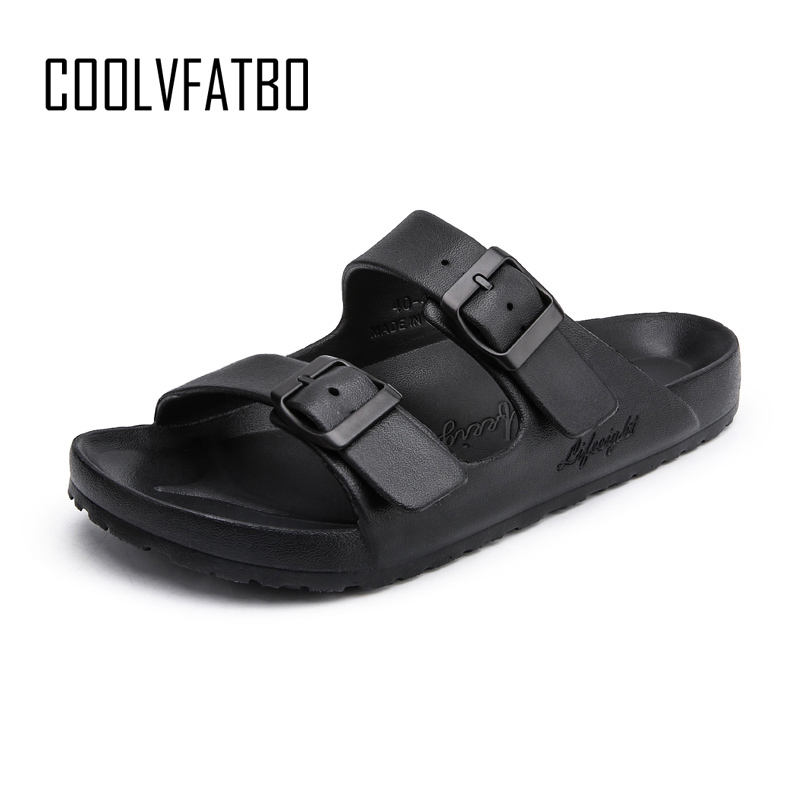 COOLVFATBO New Hot Men Slipper Casual Black And White Shoes Non-slip Slides Bathroom Summer Sandals Soft Sole Fashion