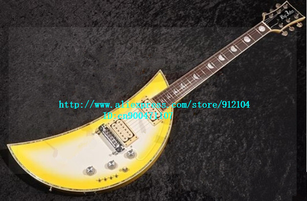 new special shape  electric guitar with mahogany body in yellow+free shipping  JT-7 free shipping big john new electric bass guitar mahogany body in natural color f 1934