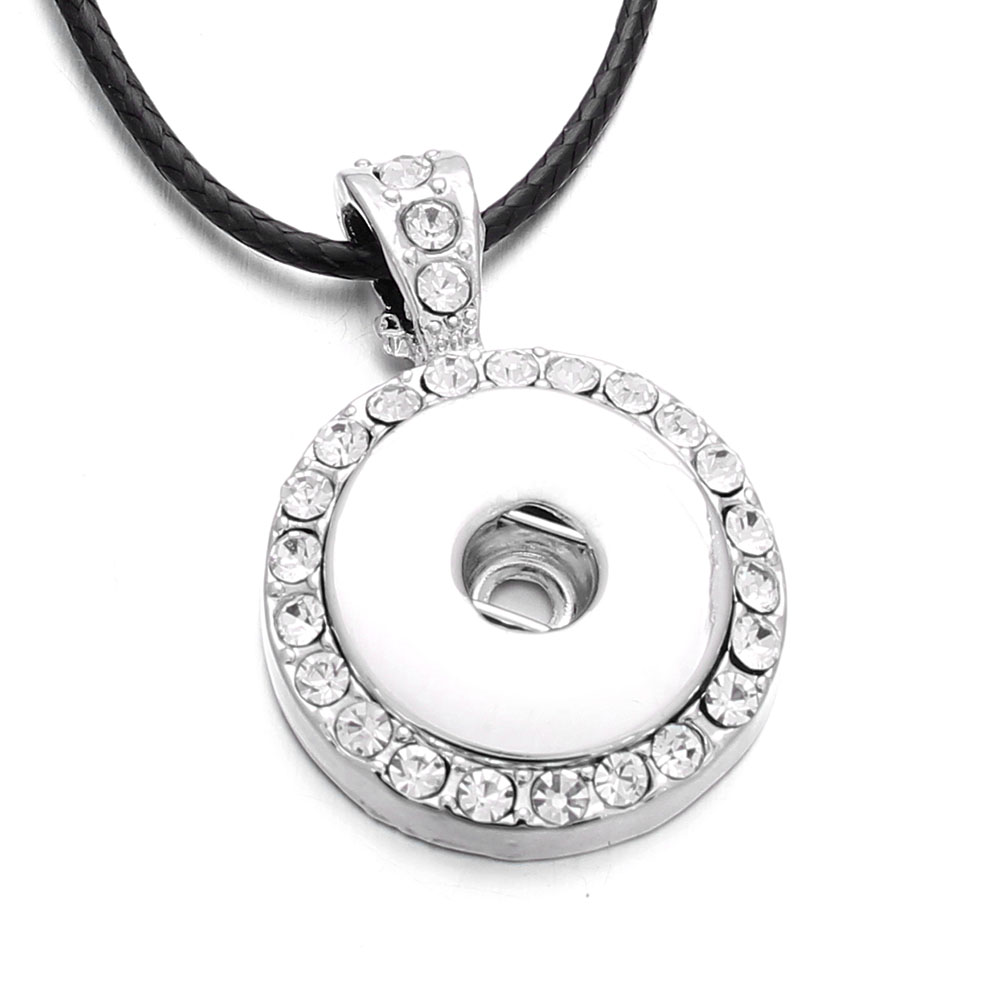 Hot Sale Snap Necklace Full Rhinestone Round Pendant Silver Color fit 18mm Snap Buttons for Snap Jewelry