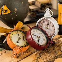 American Vintage Iron Decorative Clock Table Clocks Creative Desk Clock Crafts Study Room Living Room Vintage Clock Home Decor