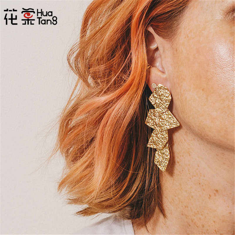 HuaTang Vintage Gold Silver Color Plated Geometric Drop Earring Irragular Pattern Long Pendant Earring Jewelry Statement 6108