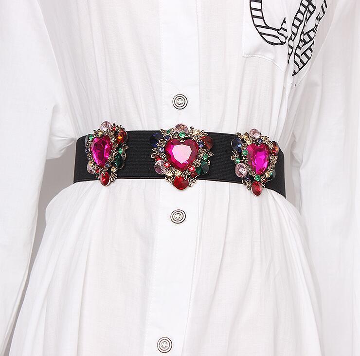 Women's Runway Fashion Diamonds Beaded Elastic Cummerbunds Female Dress Corsets Waistband Belts Decoration Wide Belt R1665