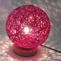 Modern Simple Wooden Bedside Reading Lamp,Dia 15/18cm Hemp Rattan Circle Ball Creative Table Lamp for Study Room Bedroom Deco