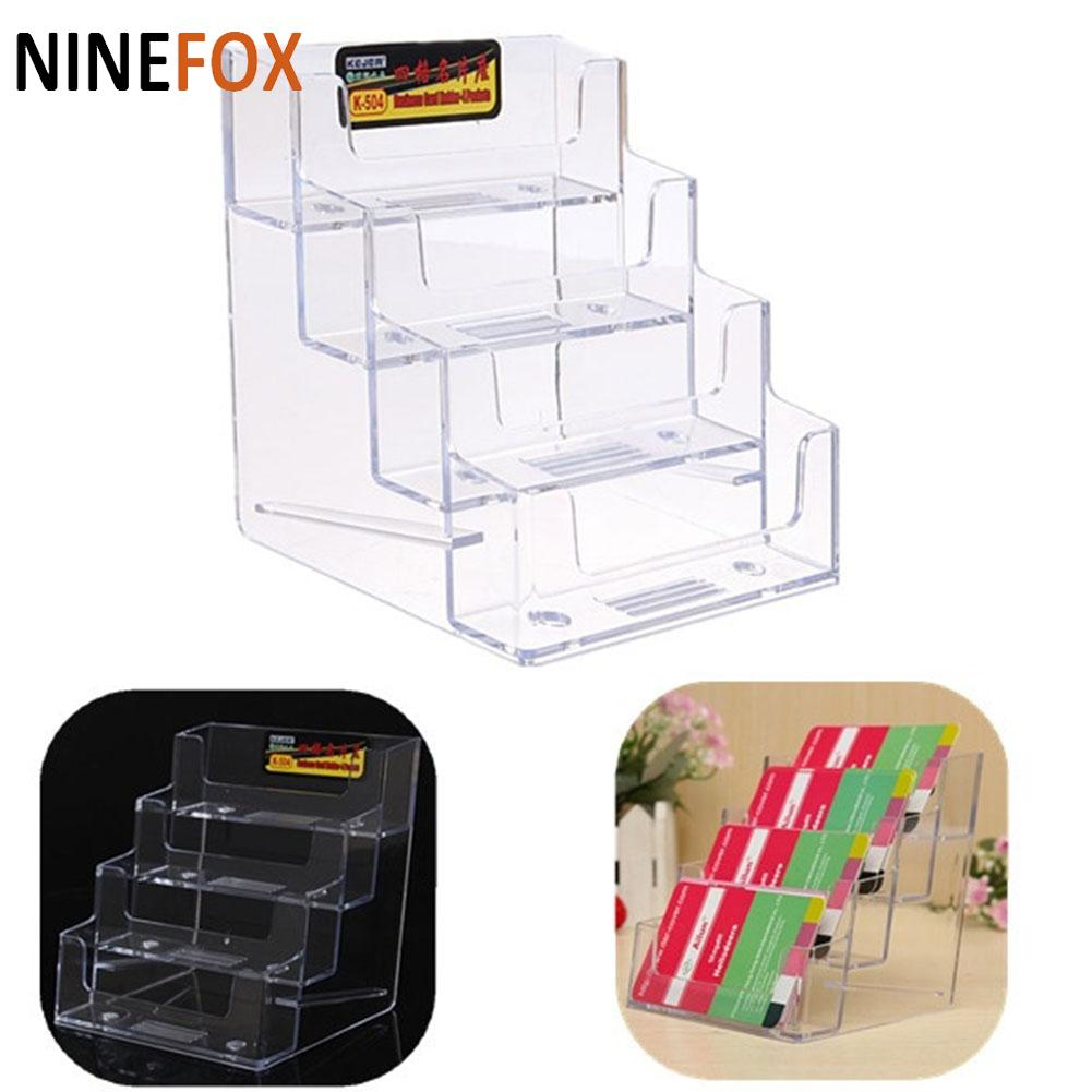 Best Promotion Four Pockets Clear Desktop Office Counter Acrylic Business Card Holder Stand Display Fit For Office School Card Holder & Note Holder