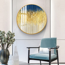Round crystal porcelain decorative painting Sofa background wall abstract restaurant oil Metal frame Entrance