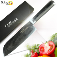 Damascus Chef Kitchen Knife Japanese Sushi Knife VG10 Stainless Steel 7 Inch Santoku Knives 67 Layer