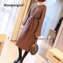 Loose Women Winter Dress Elegant O-neck Long Sleeve Pink Sweater Solid Work Office Korean Ladies with Sashes