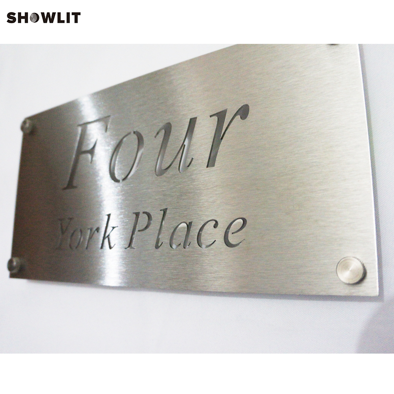 Brushed Stainless Steel Laser Cut Custom House Number Address SignBrushed Stainless Steel Laser Cut Custom House Number Address Sign
