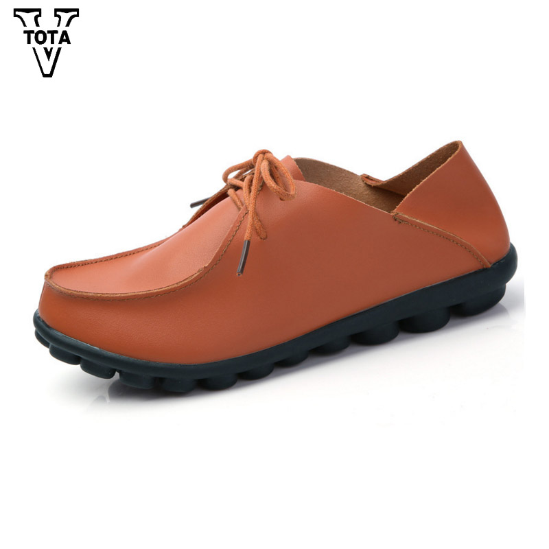 VTOTA Women Shoes Genuine Leather Spring Autumn Flat Shoes Woman Casual Shoes Slip On Flats Soft Bottom Comfortable HHGZ1 morazora spring autumn genuine leather flat shoes woman round toe platform fashion casual slip on women flats gold