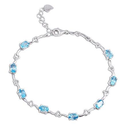 Bracelet en topaze naturelle 925 en argent Sterling femme Fine élégante gemme bleue bijoux fille pierre de naissance cadeau saint-valentin sb0010b