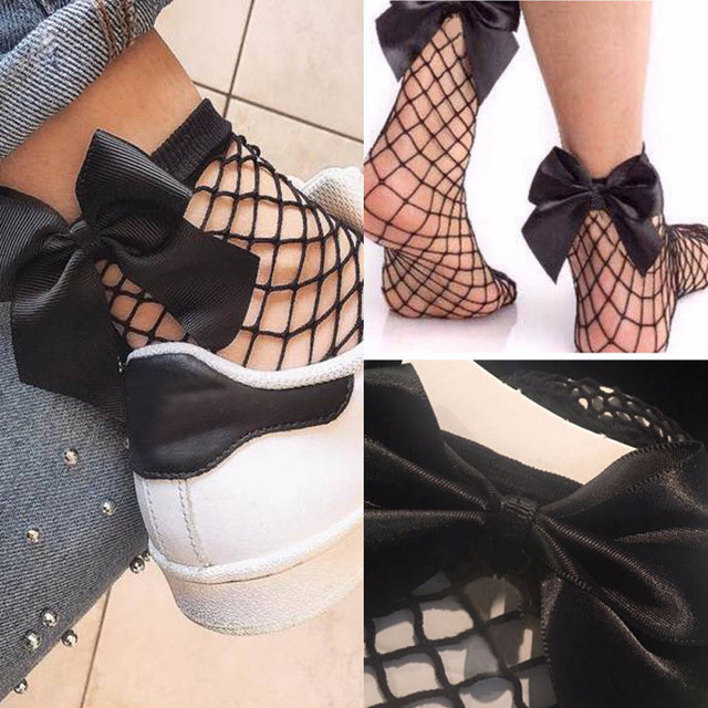 2017 New Glitter Ribbon Bow Knot Low Cut Ankle Socks Women Girl Fashion Mesh Shimmer Fishnet Net Socks Chaussettes Femme Black