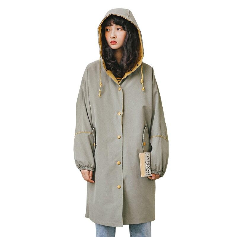 2019 New Fashion Harajuku Women's Windbreaker Windproof Rainproof Hoded Coat Female Spring Casual Loose Women Trench Coat