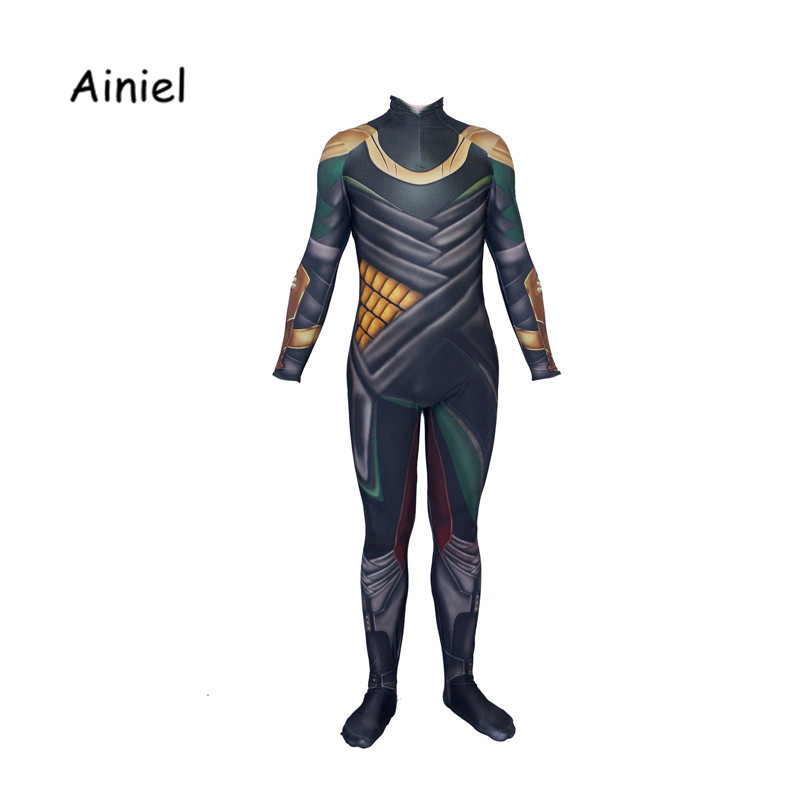 Ainiel Avengers Loki Cosplay Costume Marvel Thor Black Costumes Jumpsuit Bodysuit Halloween Carnival Party For Adult Man Kids