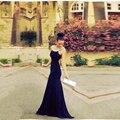 Vestidos de noche A Line Halter Custom Cheap Evening Dresses Elegant Sleeveless Black Backless Prom Dresses 2017