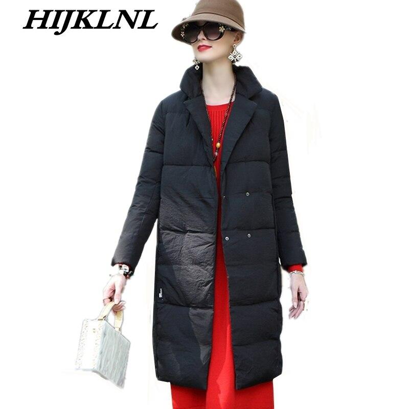 2019 Women Winter Down Coat Loose Large Size Solid Long Down Jacket Women Temperament Thicken Coat Fashion Warm Outerwear CW067