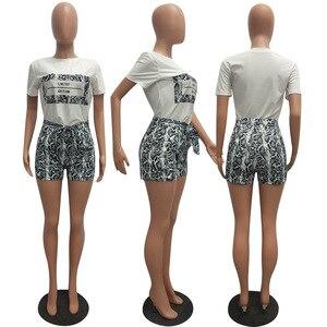 Image 5 - Echoine 여성 Snakeskin 인쇄 2 조각 세트 여름 짧은 소매 T 셔츠 캐주얼 반바지 레드/오렌지 Tracksuit 의상 S XXL