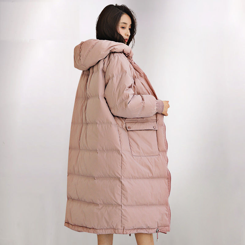 Down   Jacket Winter Long Hooded   Down   Parkas 90% White Duck   Down     coat   Female Thicken Warm Solid Outerwear   Coats   Plus size
