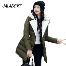 2017 Female new winter large lambswool turndown collar cotton jacket women loose thicker slim button warm parka coat