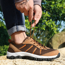 Large Size Mens Outdoor Sneakers 39-48 Man Hiking Shoes Spring Autumn Rock Climbing Brown Sky Blue Travel