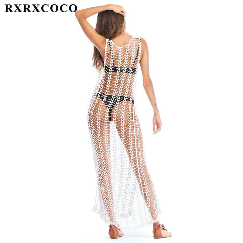 Rxrxcoco 2018 Musim Panas Seksi Beach Cover Up Baju Renang Wanita Hollow Keluar Lengan Panjang Putih Bikini Cover Up Solid Pantai gaun