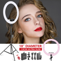 Neewer Ring Light Kit [Upgraded Version-1.3cm Ultra Slim]-18 inches,3200-5600K,Dimmable LED Ring Light with Light Stand