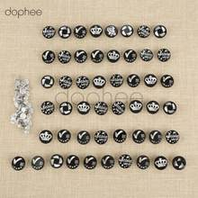 dophee 50pcs 20mm Black Jeans Buttons Rivets with Nails Silvery Pattern Casual Jeans Garments Shoes Boots Handbags Leather(China)