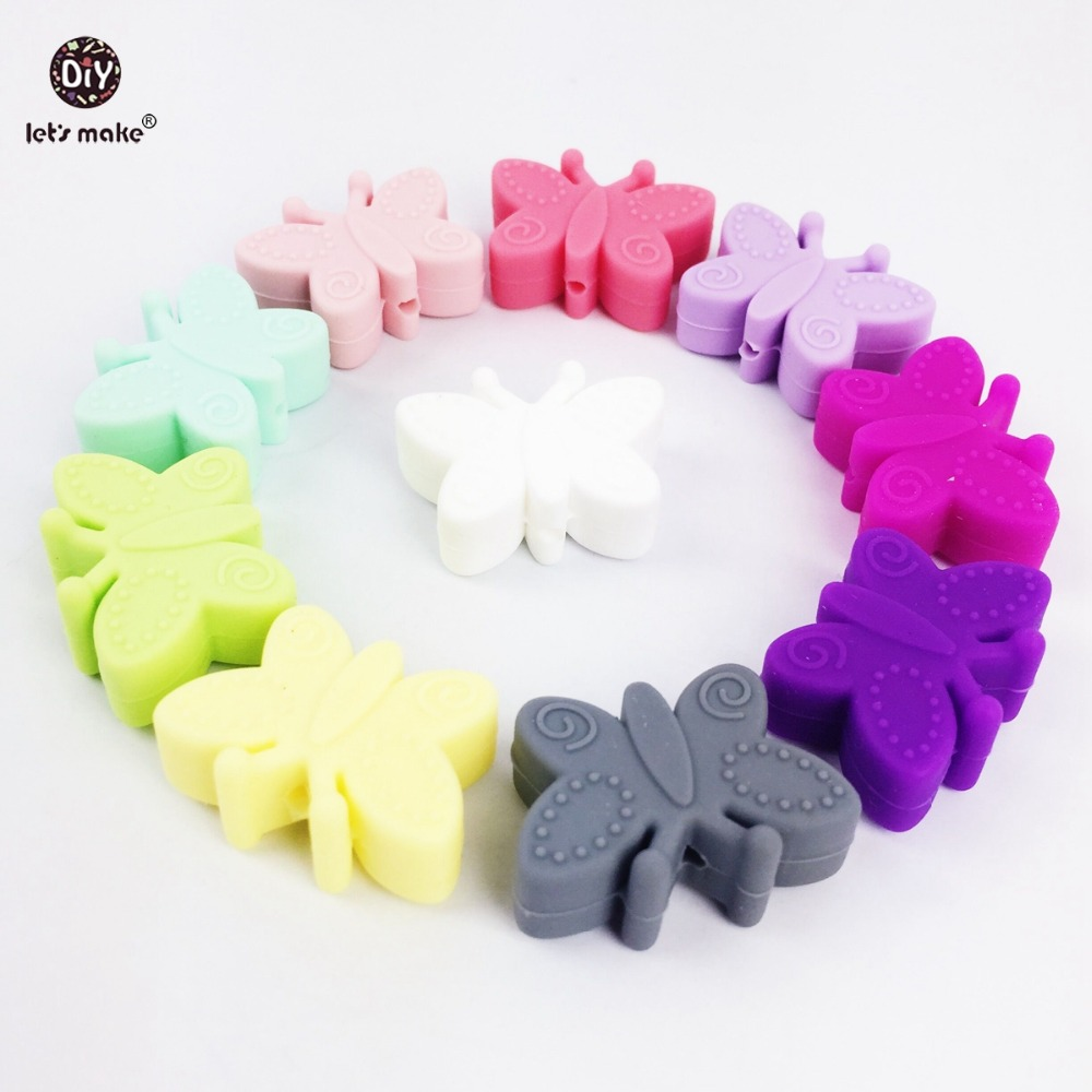 Lets make silicone butterfly 50pc small beads for teething holes DIY beads 3cm butterfly BPA free silicone teether baby teether