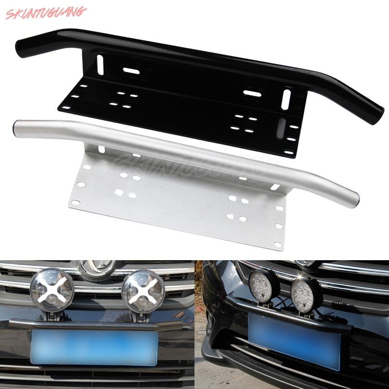 Bull Bar Front Bumper License Plate Mount Bracket Led Light Holder Offroad Silve