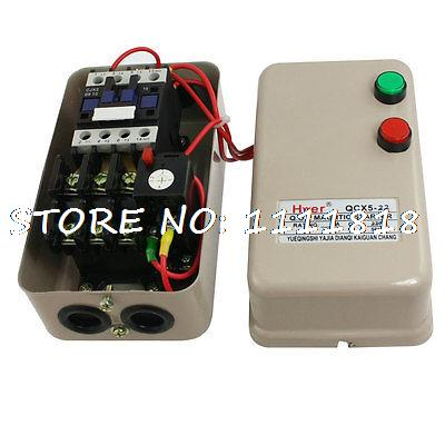 AC 220V 3.2-5A 3HP 2.2KW 3 Phase Magnetic Starter Motor Control Contactor chint electromagnetism starter magnetic force starter qc36 10t motor starter phase protect magnetic force switch