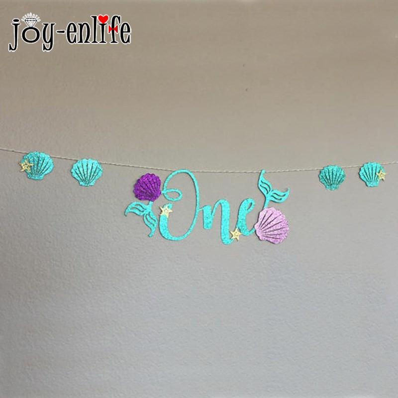 JOY-ENLIFE 1set Kids First Birthday Party Decoration Glitter ONE Blue Mermaid Banner Purple Shells Baby Shower Decor Supplies
