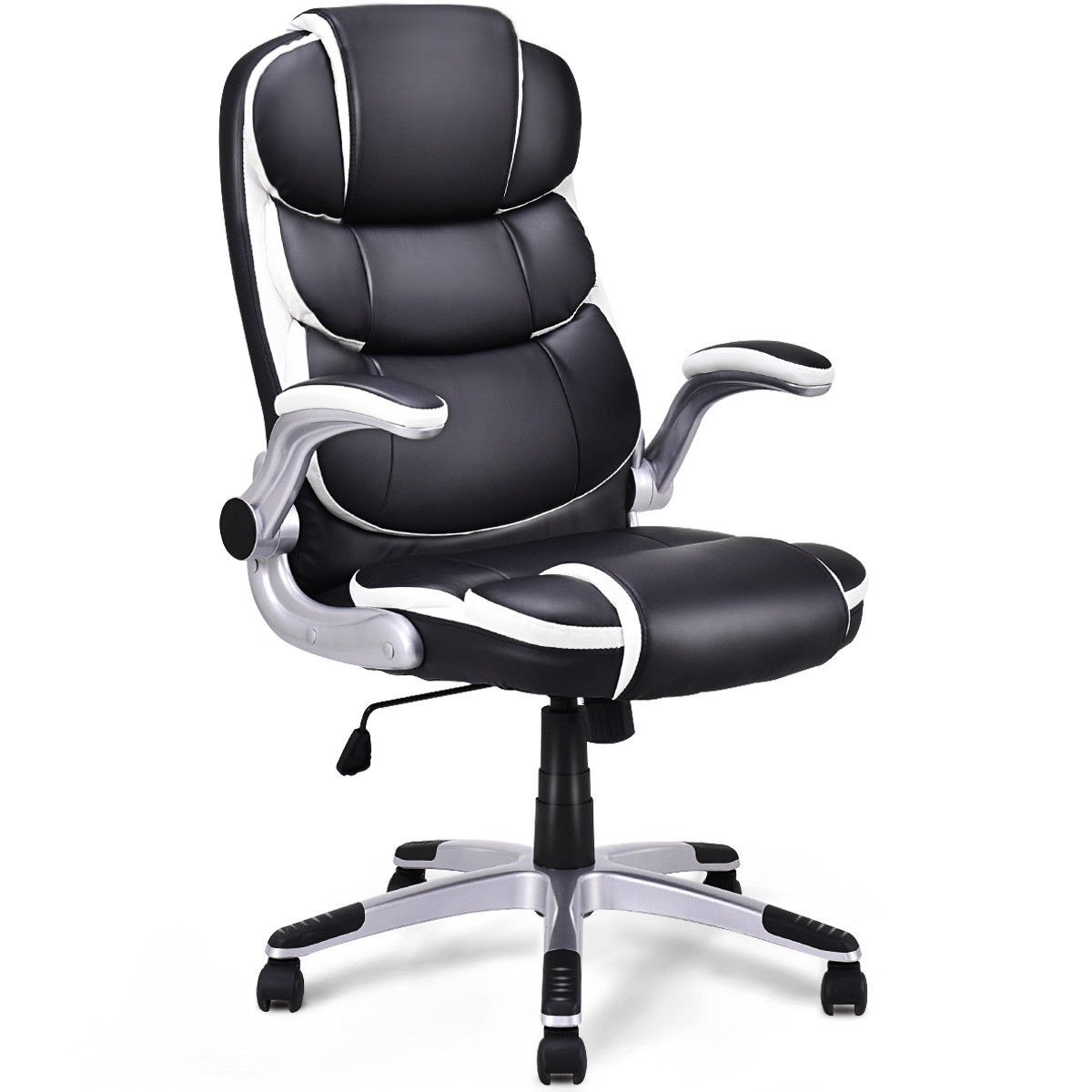 Giantex PU Leather High Back Executive Office Chair Modern Swivel Desk Task Computer Gaming Chairs Ergonomic Furniture HW56602 giantex pu leather high back racing style bucket seat gaming chair with head pillow modern office desk computer chairs hw52433
