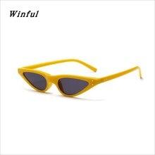 Winful Novo Pequeno Gato Olho Óculos De Sol Das Mulheres Doce Cor Amarelo  Óculos de Sol 8303846f2f
