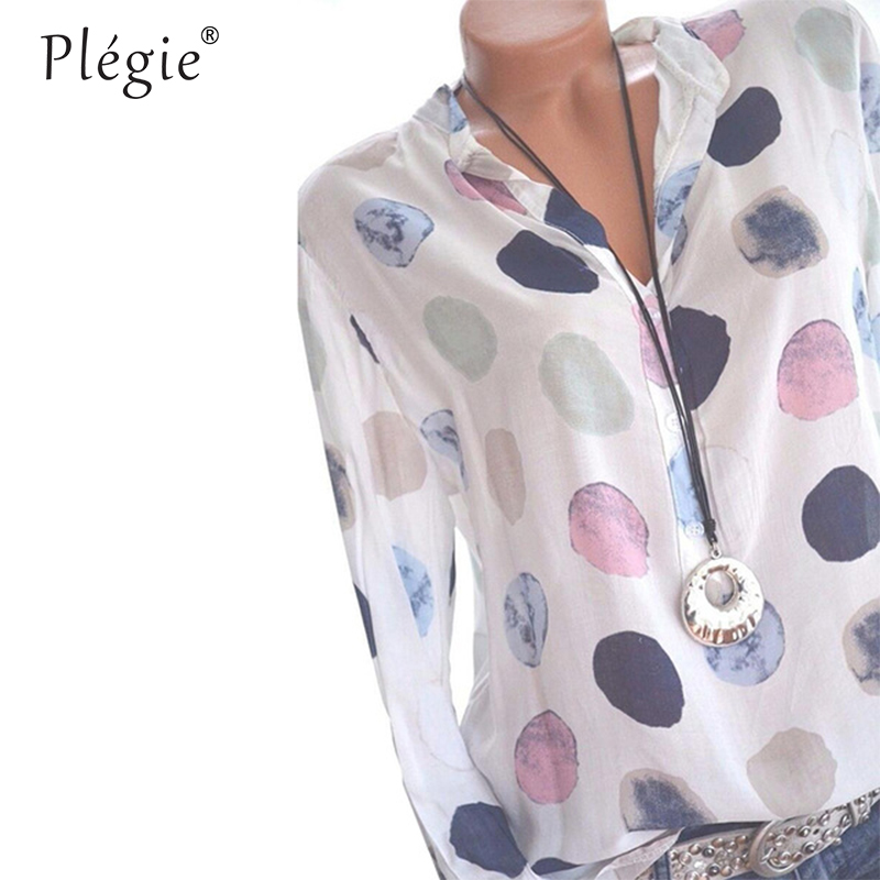 Plegie Womens Tops And Blouses 2018 Women Spring Blusas Shirt Dot Printed Long Sleeves Office Lady Blouse Shirts Blusa Plus Size 4