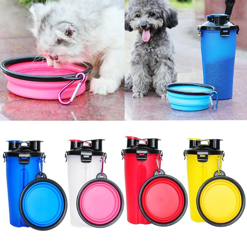 2 In 1 Abs Folding Dogs Cats Feeding  Feeder Water Food Bottle Outdoor Travel Pet Bowls For Pet Dog Cat Puppy Bowl Water