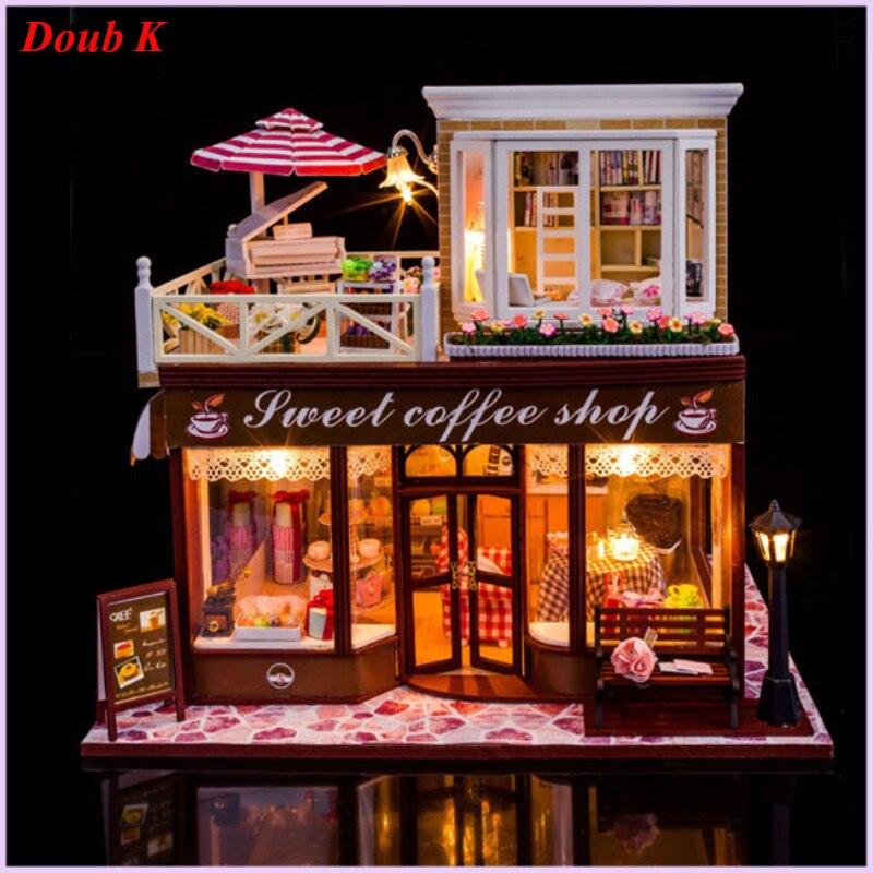 Doub k diy 커피 하우스 인형 집 미니 조립 모델 완구 퍼즐 미니어처 빌딩 dollhouses 가정용 인형 집-에서모델 빌딩 키트부터 완구 & 취미 의  그룹 1