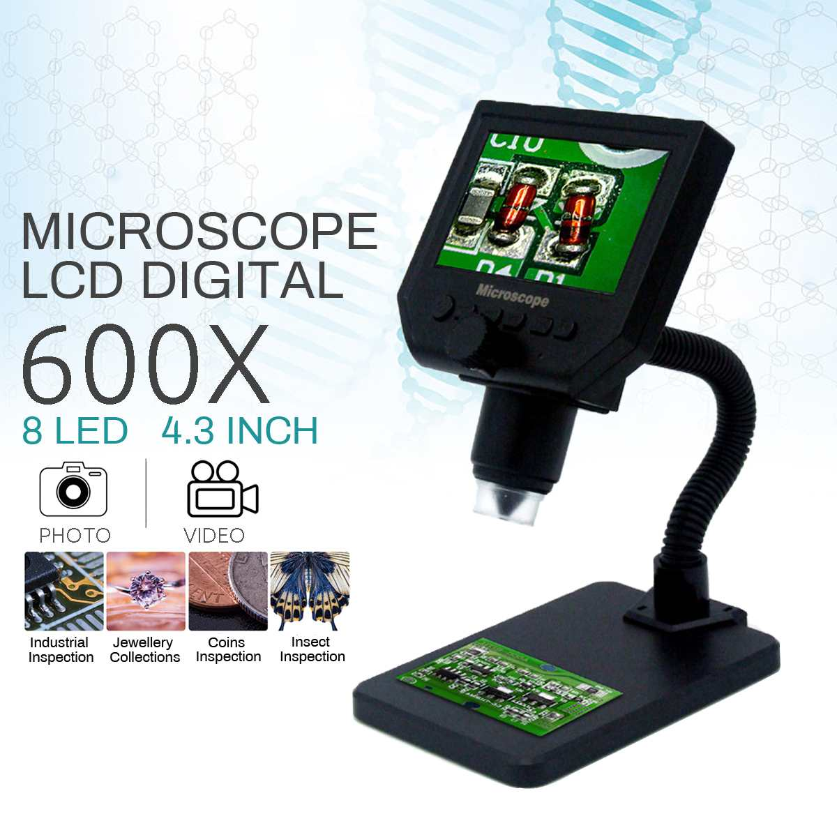 4.3 Inch 600X HD Digital Soldering Microscope Electronic LCD Digital Video Microscope Phone Repair Magnifier Metal Stand