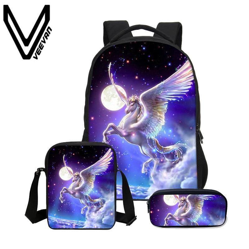 "16"" Kids Children Girls Unicorn School Backpacks Lunch Bag Pencil Bag 3pcs Sets"