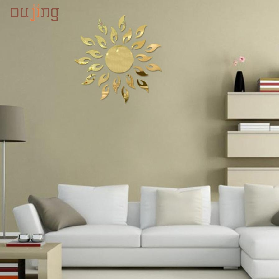 Mosunx Business Luxury 3D Sun flower Home Decor Bell Cool Mirrors Wall Stickers