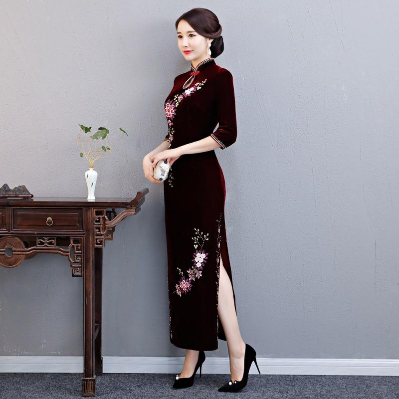 Automne Mince Partie Long Mandarin 2018 Style 4xl Robe Bourgogne S Velours Qipao Robes Chinois Cheongsam Femmes Vintage Col 0wOyNvnm8