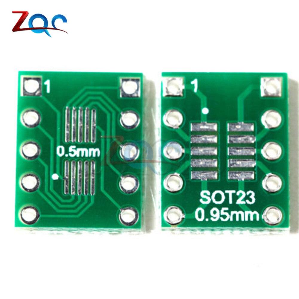 20pcs SOT23 SOP10 MSOP10 Umax SOP23 To DIP10 Pinboard SMD To DIP Adapter Plate 0.5mm/0.95mm To 2.54mm DIP Pin PCB Board Convert