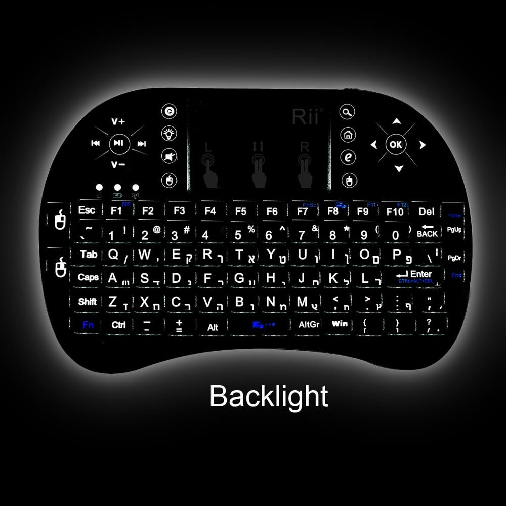 Rii i8 + 2.4 г мини беспроводная клавиатура Израиль иврит клавиатуры Touchpad Мышь Подсветка комбо для IP ТВ Smart ТВ коробка Pad Tablet PC