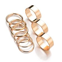 2018 New Hot 9PCS 1Set Gold Silver Color Rings Set for Women Punk Wide Band Ring Stack Plain Knuckle Midi Mid Rings Set gift(China)